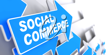 Social Commerce - Business Concept.  Blue Arrow with Social Commerce slogan on a grey background. 3D Render.