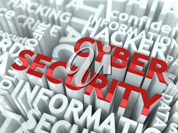 Cyber Security Concept. The Word of Red Color Located over Text of White Color.