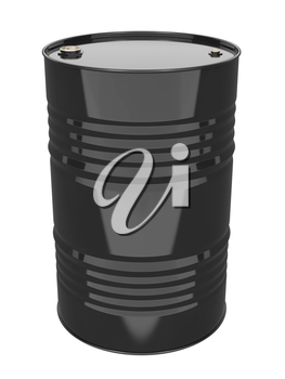 Black Industrial Barrel. Isolated on white.
