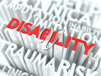 Disability Background Design. Word of Red Color Located over Word Cloud of White Color.