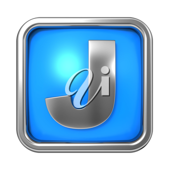 Silver Letter in Frame, on Blue Background - Letter J