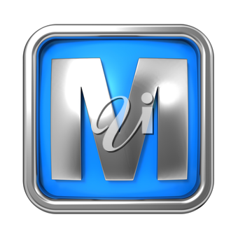 Silver Letter in Frame, on Blue Background - Letter M
