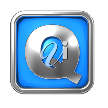 Silver Letter in Frame, on Blue Background - Letter Q