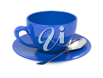 Blue Coffee Cup with Spoon and Saucer Isolated on White Background.