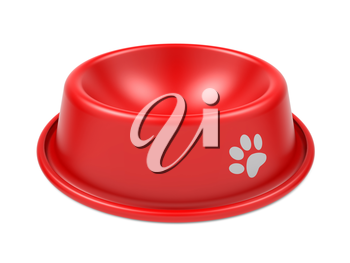 Red Pet Bowl Isolated on White Background.