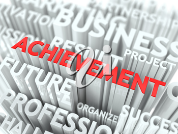 Achievement Background Design. The Word Cloud Concept.