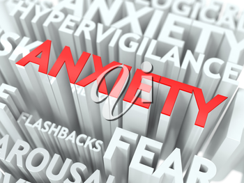 Anxiety Concept. The Word of Red Color Located over Text of White Color.