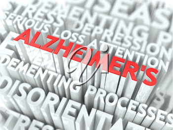 Alzheimer Concept. The Word of Red Color Located over Text of White Color.
