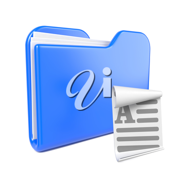 Blue Folder with Toon File Icon. Isolated on White.