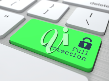 Protection Concept. Button on Green Modern Computer Keyboard. 3D Render.