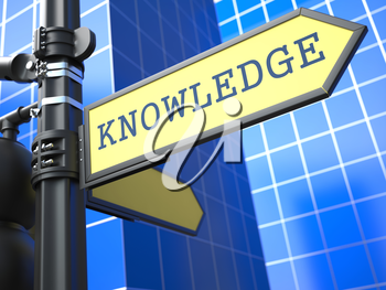 Business Concept. Knowledge Sign on Blue Background.