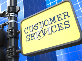 Service Concept. Customer Services Roadsign on Blue Background.