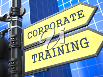 Education Concept. Corporate Training Roadsign on Blue Background.