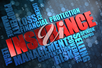 Insurance - Wordcloud Concept. The Word in Red Color, Surrounded by a Cloud of Blue Words.