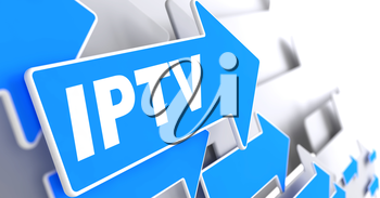 IPTV.  Information Concept.  Blue Arrow with IPTV slogan on a grey background. 3D Render.