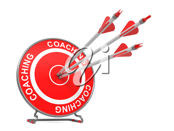 Coaching - Business Background. Three Arrows Hitting the Center of a Red Target, where is Written Coaching. 3D Render.