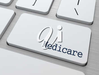 Medicare - Medical Concept. Button on Modern Computer Keyboard. 3D Render.