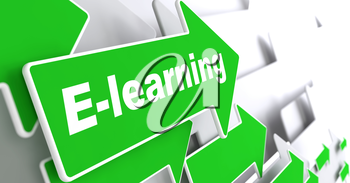 E-Learning - Educational Background. Green Arrow with E-Learning Slogan on a Grey Background. 3D Render.