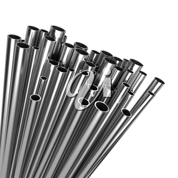 Stack of Steel Pipes Isolated on White Background.
