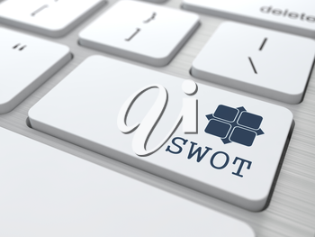 SWOT. Button on Modern Computer Keyboard. Marketing Concept. 3D Render.