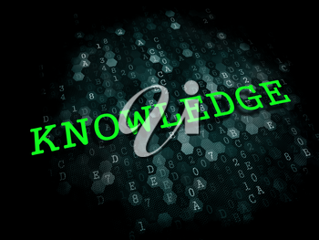 Knowledge - Education Concept. The Word in Light Green Color on Dark Digital Background.