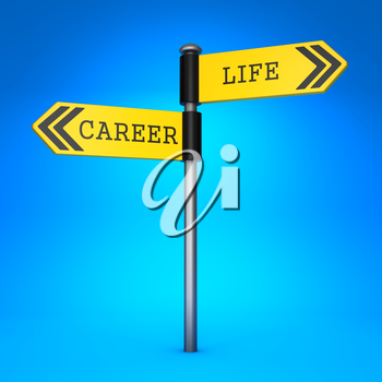 Yellow Two-Way Direction Sign with the Words Career and Life on Blue Background. Concept of Choice.