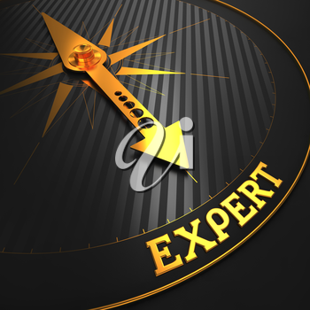 Expert - Business Background. Golden Compass Needle on a Black Field Pointing to the Word Expert. 3D Render.