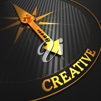 Creative - Business Background. Golden Compass Needle on a Black Field Pointing to the Word Creative. 3D Render.