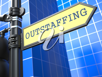 Outstaffing Word on Yellow Roadsign on Blue Urban Background. Business Concept. 3D Render.