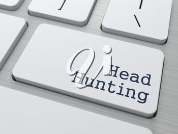 Headhunting. Button on Modern Computer Keyboard. Business Concept. 3D Render.