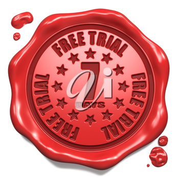 Free Trial 7 Days - Stamp on Red Wax Seal Isolated on White. Business Concept. 3D Render.