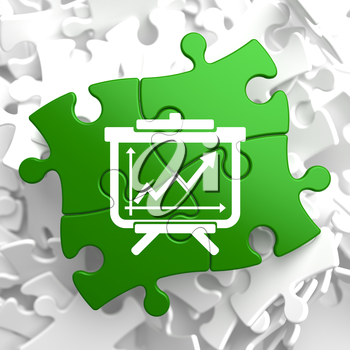 Flipchart with Growth Chart Icon on Green Puzzle.  Business Concept.