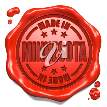 Made in Minnesota - Stamp on Red Wax Seal Isolated on White. Business Concept. 3D Render.