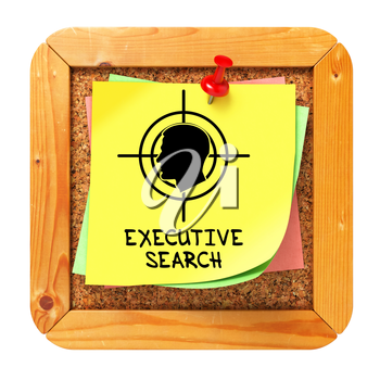 Executive Search, Yellow Sticker on Cork Bulletin or Message Board - Small Font. Business Concept. 3D Render.