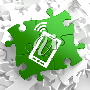 Smartphone Icon on Green Puzzle. Mobile Technology Concept.