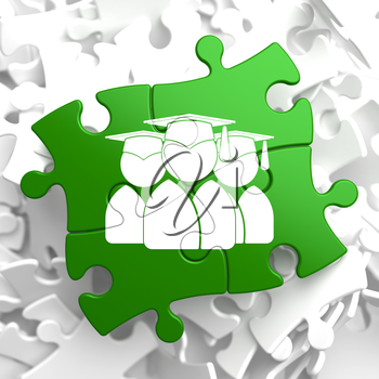 Icon of Human Silhouettes in Grad Hat on Green Puzzle. Education Concept.