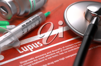 Diagnosis - Lupus. Medical Concept on Orange Background with Blurred Text and Composition of Pills, Syringe and Stethoscope. Selective Focus. 3d Render.
