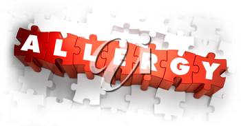 Allergy - White Word on Red Puzzles on White Background. 3D Illustration.