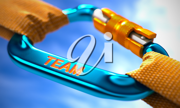 Team on Blue Carabine with a Orange Ropes. Selective Focus. 3d Render.