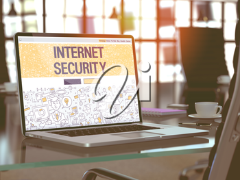 Internet Security Concept. Closeup Landing Page on Laptop Screen in Doodle Design Style. On Background of Comfortable Working Place in Modern Office. Blurred, Toned Image. 3D Render.