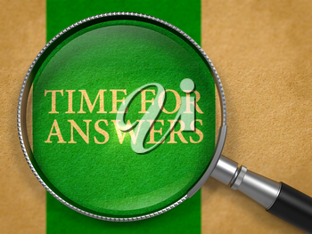 Time for Answers through Loupe on Old Paper with Green Vertical Line Background. 3d Render.