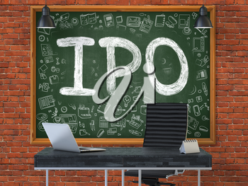 Green Chalkboard with the Text IPO - Initial Public Offering - Hangs on the Red Brick Wall in the Interior of a Modern Office. Illustration with Doodle Style Elements. 3D.