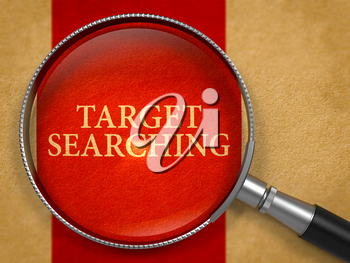 Target Searching through Lens on Old Paper with Crimson Vertical Line Background. 3d Render.