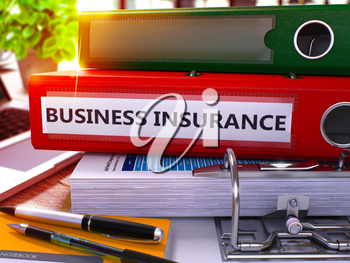 Red Office Folder with Inscription Business Insurance on Office Desktop with Office Supplies and Modern Laptop. Business Insurance Business Concept on Blurred Background. 3D Render