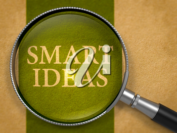 Smart Ideas through Loupe on Old Paper with Dark Green Vertical Line Background. 3D Render.