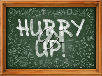 Hurry Up Concept. Line Style Illustration. Hurry Up Handwritten on Green Chalkboard with Doodle Icons Around. Doodle Design Style of Hurry Up.