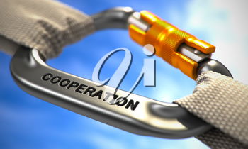 Cooperation on Chrome Carabine with White Ropes. Focus on the Carabine. 3D Render.