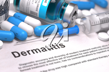 Dermatitis - Printed Diagnosis with Blurred Text. On Background of Medicaments Composition - Blue Pills, Injections and Syringe. 3D Render.