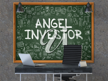 Angel Investor - Hand Drawn on Green Chalkboard in Modern Office Workplace. Illustration with Doodle Design Elements. 3D.