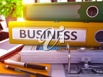 Business - Yellow Office Folder on Background of Working Table with Stationery and Laptop. Business Business Concept on Blurred Background. Business Toned Image. 3D.